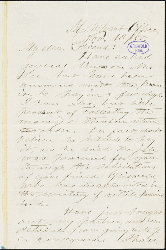 H. Torrey, Merchant Office., autograph letter signed to Alice Cary, 13 November 1855