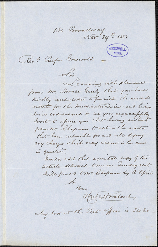 Herbert Trabault, 130 Broadway, New York, NY., autograph letter signed to R. W. Griswold, 29 November 1851