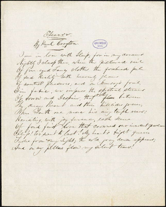 "John Townsend Trowbridge (Paul Creyton, pseudonym) manuscript poem: ""Eleanor."""