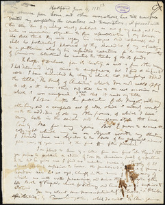 John Trumbull, Hartford, CT., autograph letter signed to Mathew Carey, 4 June 1785