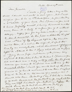 Nathaniel Beverley Tucker, Boston, MA., autograph letter signed to R. W. Griswold, 29 April 1842