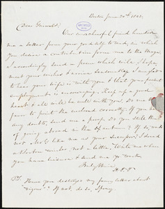 Nathaniel Beverley Tucker, Boston, MA., autograph letter signed to R. W. Griswold, 24 June 1842
