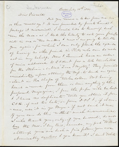 Nathaniel Beverley Tucker, Boston, MA., autograph letter signed to R. W. Griswold, 14 July 1842