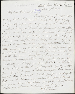 Nathaniel Beverley Tucker, New York, autograph letter signed to R. W. Griswold, 17 October 1842