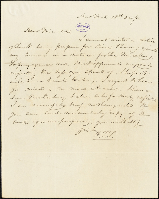 Nathaniel Beverley Tucker, New York, autograph letter signed to R. W. Griswold, 28 December 1842
