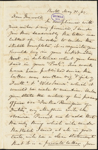 Nathaniel Beverley Tucker, Boston, MA., autograph letter signed to R. W. Griswold, 31 May 1843