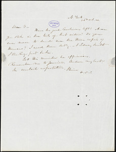 Nathaniel Beverley Tucker, New York, autograph letter signed to R. W. Griswold, 26 October 1844