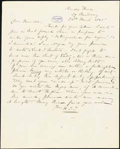Nathaniel Beverley Tucker, 39 Broadway, (New York?), autograph letter signed to R. W. Griswold, 24 March 1845