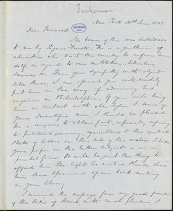 Nathaniel Beverley Tucker, New York, autograph letter signed to R. W. Griswold, 20 June 1845