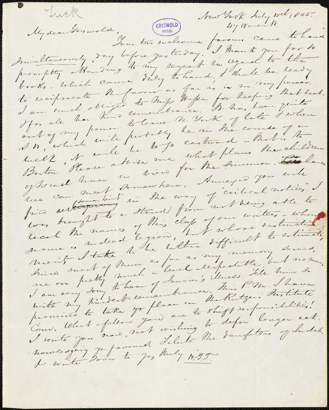 Nathaniel Beverley Tucker, New York, autograph letter signed to R. W. Griswold, 10 July 1845