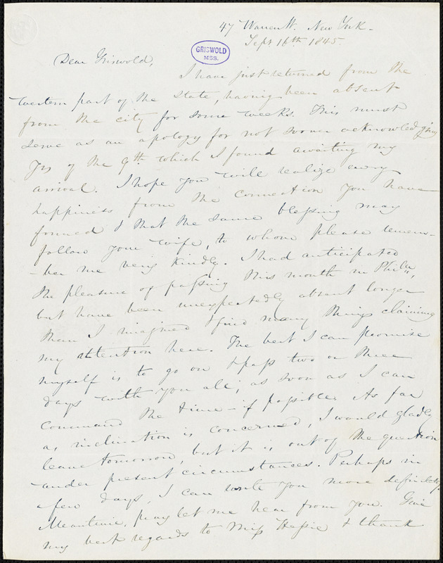Nathaniel Beverley Tucker, 47 Warren St., New York, autograph letter signed to R. W. Griswold, 16 September 1845