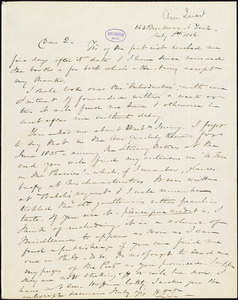 Nathaniel Beverley Tucker, New York, autograph letter signed to R. W. Griswold, 8 July 1846