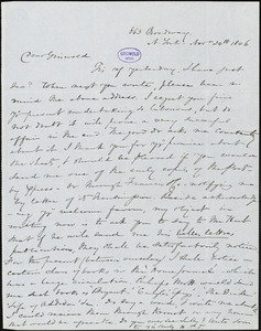 Nathaniel Beverley Tucker, New York, autograph letter signed to R. W. Griswold, 24 November 1846