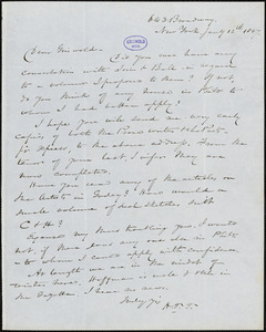 Nathaniel Beverley Tucker, New York, autograph letter signed to R. W. Griswold, 12 January 1847