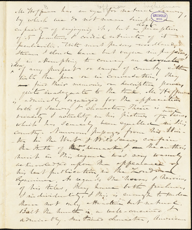 Nathaniel Beverley Tucker, 47 Warren St. (NY?), autograph letter signed to R. W. Griswold, postmarked 10 May