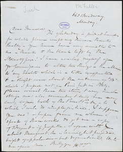 Nathaniel Beverley Tucker, 663 Broadway, (New York), autograph letter signed to R. W. Griswold