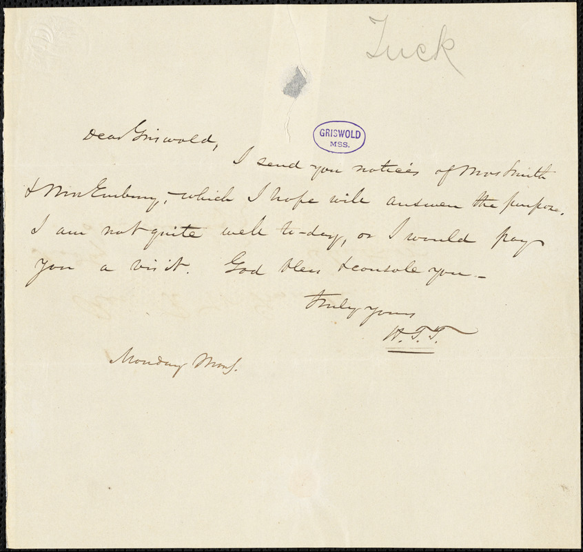 Nathaniel Beverley Tucker autograph letter signed to R. W. Griswold