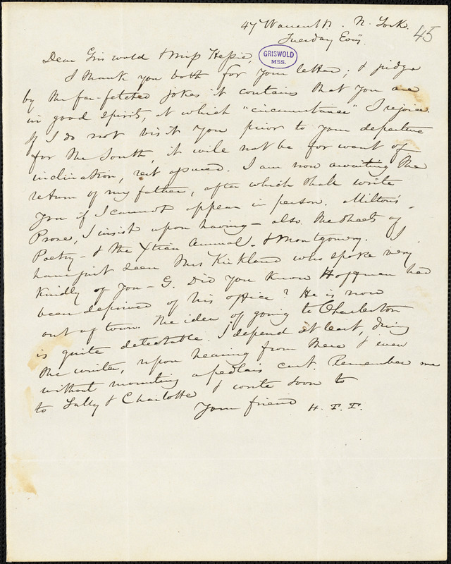 Nathaniel Beverley Tucker, New York, autograph letter signed to R. W. Griswold and Miss Hessie [Myers]