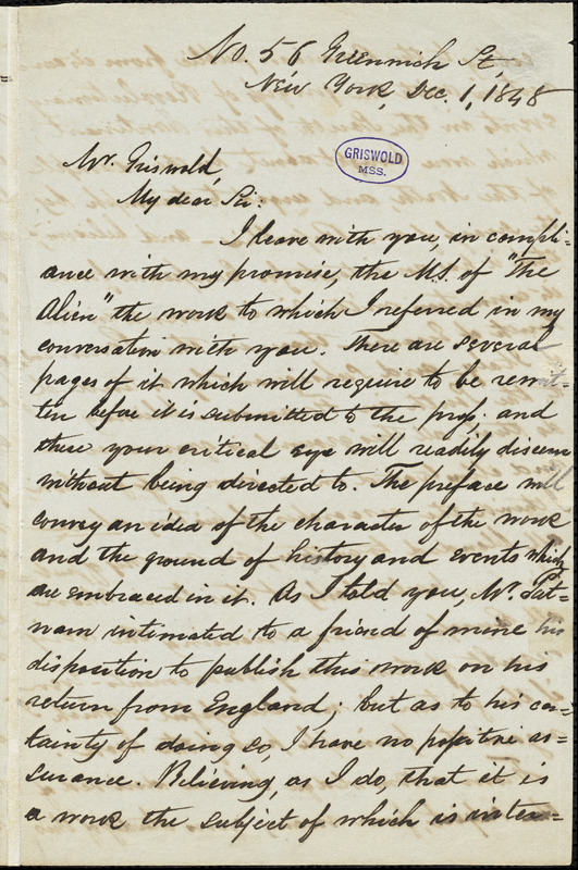 John E. Tuel, New York, autograph letter signed to R. W. Griswold, 1 December 1848