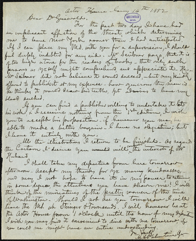 M[ann] S[atterwhite] Valentine Jr., Astor House, (New York?), autograph letter signed to R. W. Griswold, 14 January 1852