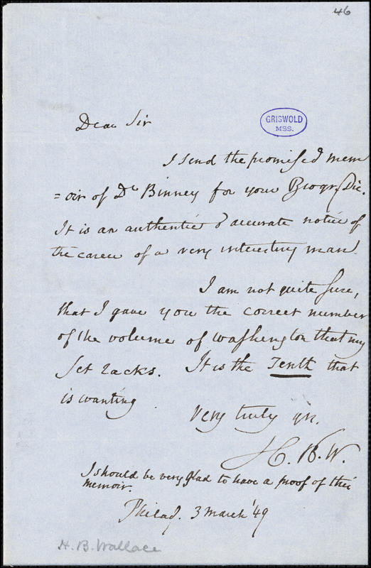 Horace Binney Wallace, Philadelphia, PA., autograph letter signed to R. W. Griswold, 3 March 1849