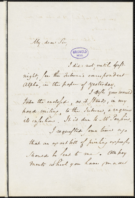 Horace Binney Wallace autograph letter signed, 19 October 1849