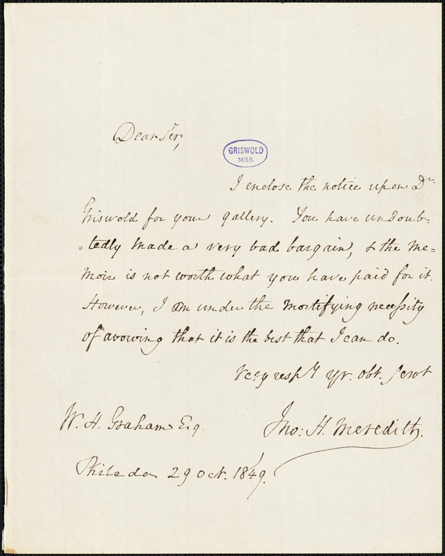 Horace Binney Wallace, Philadelphia, PA., autograph letter signed to George R. Graham, 29 October 1849