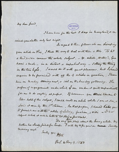 Horace Binney Wallace, Philadelphia, PA., autograph letter signed to [R. W. Griswold], 4 May 1850
