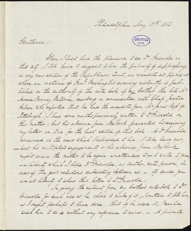 John William Wallace, Philadelphia, PA., autograph letter signed to D. Appleton & Co., 10 May 1856