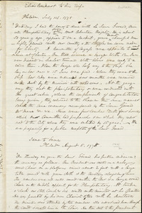 John William Wallace autograph document: Extracts from four letters of Elias Boudinot to his wife