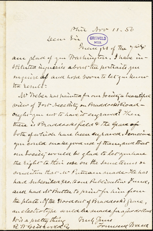 Townsend Ward, Philadelphia, PA., autograph letter signed to R. W. Griswold, 11 November 1856