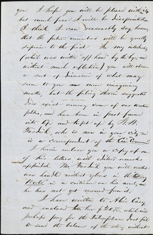 William Wallace Warden, Cincinnati, (OH), autograph letter signed to R. W. Griswold, 27 December 1852