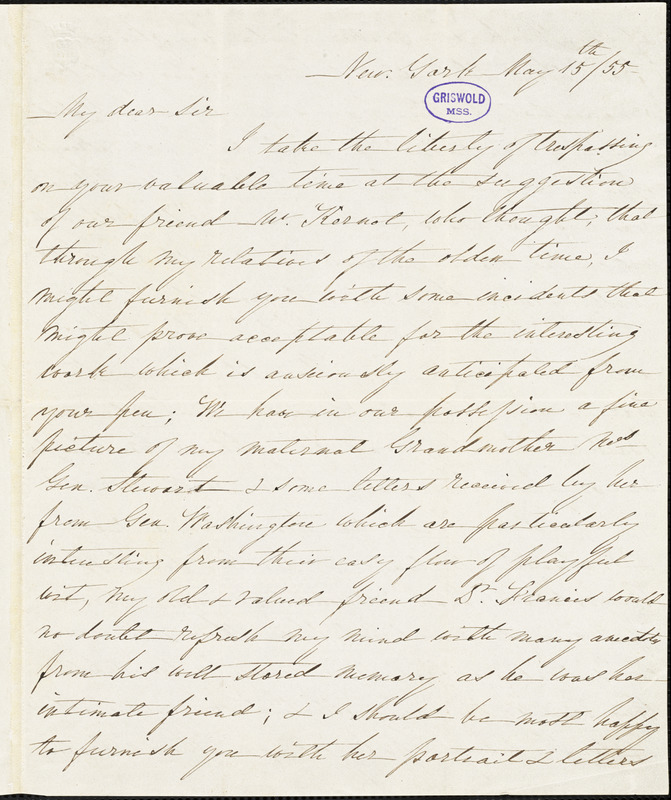 Angelica (Church) Warren, New York, autograph letter signed to R. W. Griswold, 15 May 1855