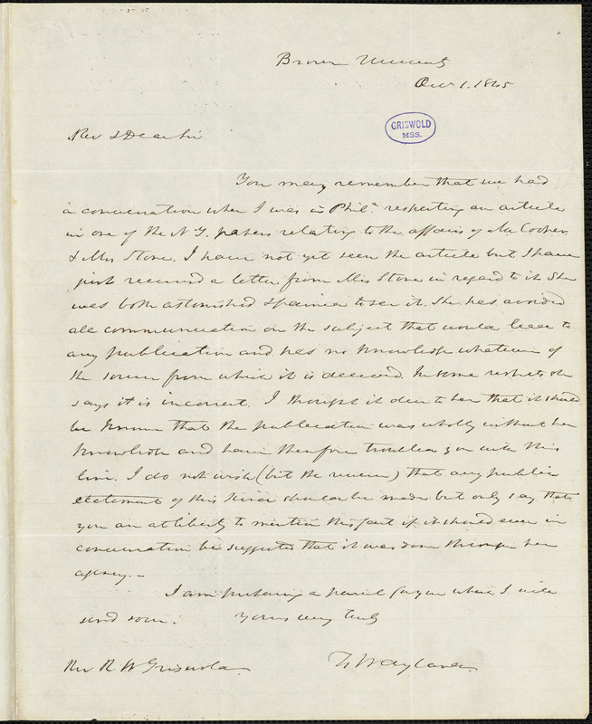 Francis Wayland, Brown University, (Providence, RI), autograph letter signed to R. W. Griswold, 1 October 1845