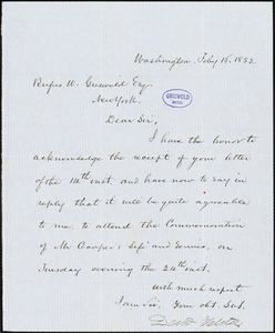 Daniel Webster, Washington, DC., autograph letter signed to R. W. Griswold, 16 February 1852