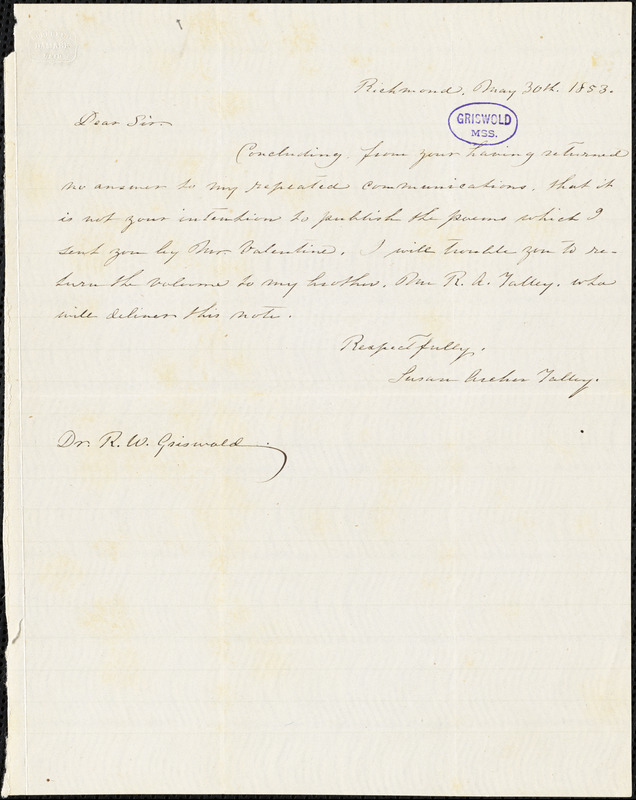 Susan Archer (Talley) Weiss, Richmond, VA., autograph note signed to R. W. Griswold, 30 May 1853
