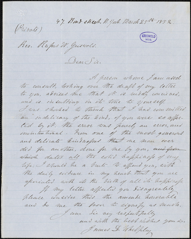 James Davenport Whelpley, New York, autograph letter signed to R. W. Griswold, 25 March 1852