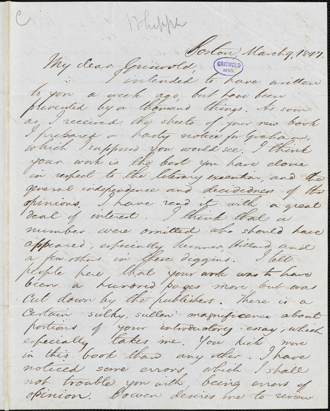 Edwin Percy Whipple, Boston, MA., autograph letter signed to R. W. Griswold, 9 March 1847