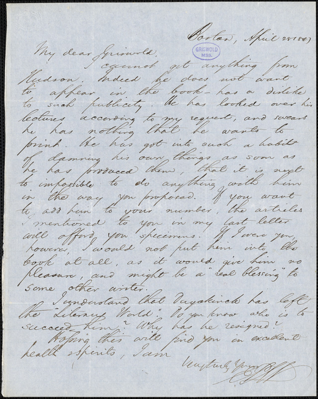 Edwin Percy Whipple, Boston, MA., autograph letter signed to R. W. Griswold, 28 April 1847