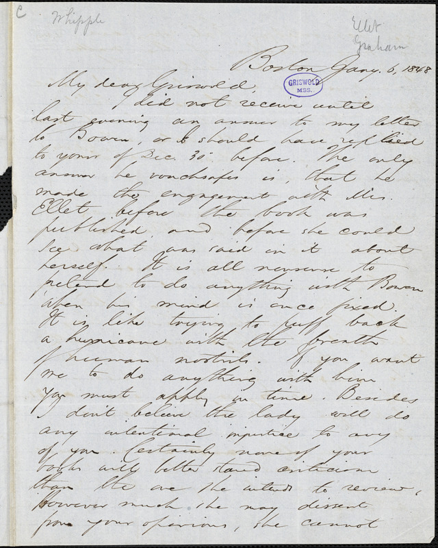 Edwin Percy Whipple, Boston, MA., autograph letter signed to R. W. Griswold, 6 January 1849