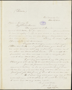 Thomas Willis White, Richmond, VA., autograph letter signed to Horace Greeley, 30 October 1840