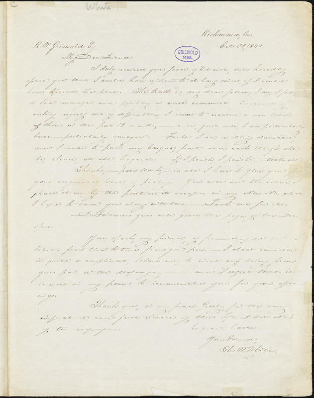 Thomas Willis White, Richmond, VA., autograph letter signed to R. W. Griswold, October 1840
