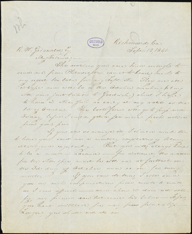 Thomas Willis White, Richmond, VA., autograph letter signed to R. W. Griswold, 12 September 1841