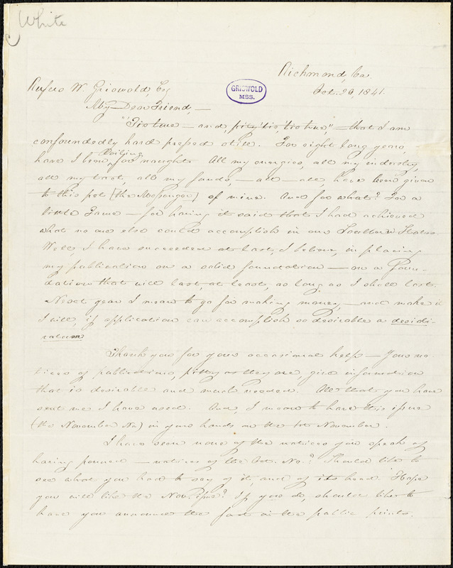Thomas Willis White, Richmond, VA., autograph letter signed to R. W. Griswold, 20 October 1841