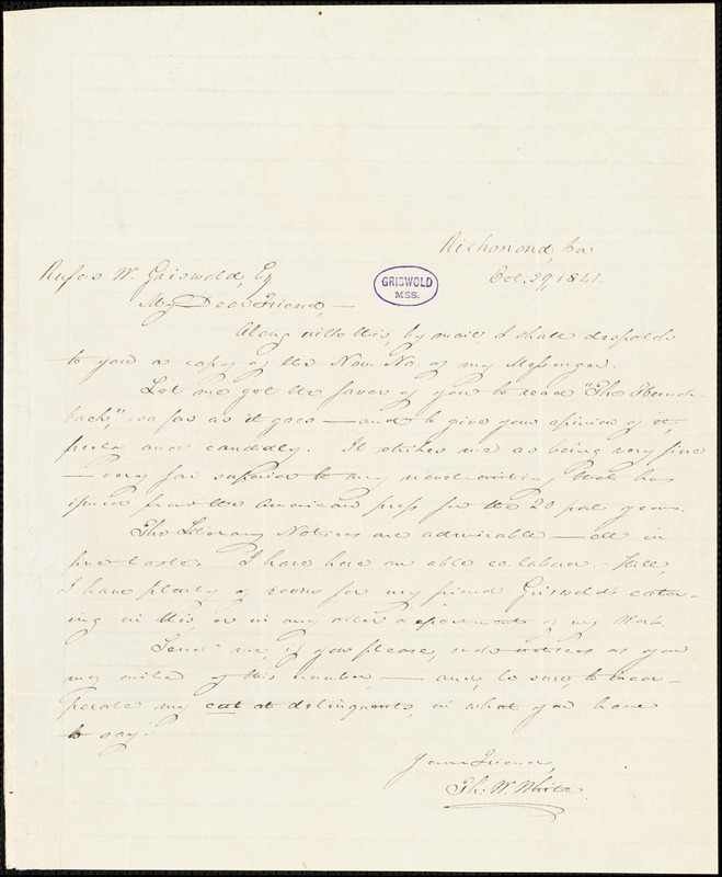 Thomas Willis White, Richmond, VA., autograph letter signed to R. W. Griswold, 29 October 1841