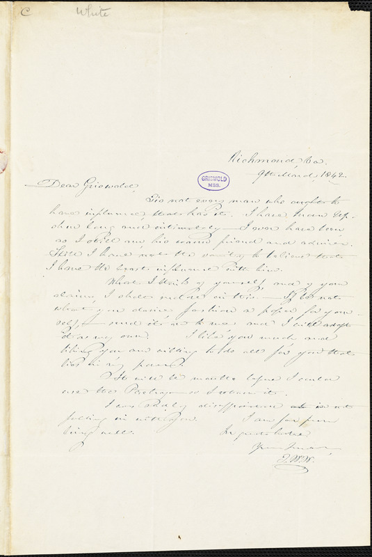 Thomas Willis White, Richmond, VA., autograph letter signed to R. W. Griswold, 9 March 1842