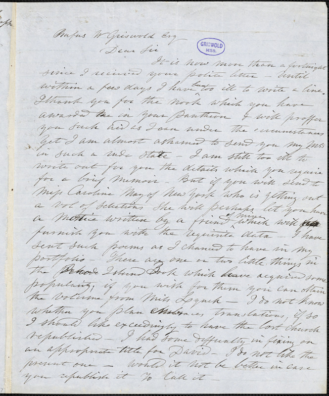 Sarah Helen (Power) Whitman autograph letter signed to R. W. Griswold, [1848?]