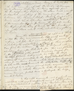 "John Greenleaf Whittier manuscript articles, 10 October 1851: ""Abolition in Tunis - Slavery in the United States"" and ""The West Indies in 1843, '44, '45."""
