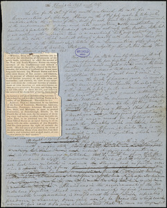 "John Greenleaf Whittier manuscript articles, [1847]: ""Illinois in 1843 and 1847"" ""The Guerilla."""