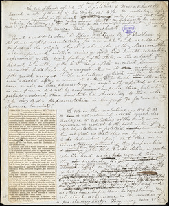 "John Greenleaf Whittier manuscript article, ""The Mexican War - Massachusetts"" and manuscript poem, [1847]: ""The Angel of Patience - a free paraphrase from the German."""